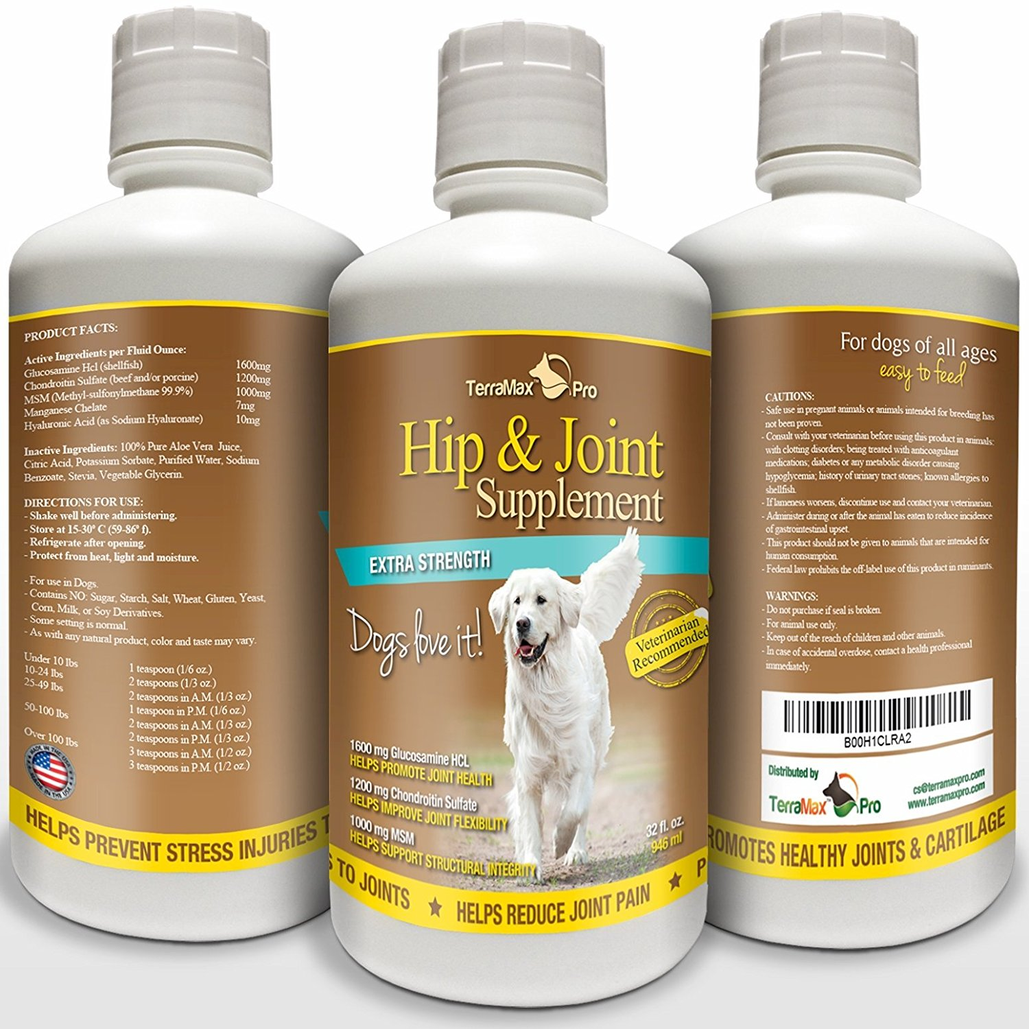 TerraMax Pro Hip and Joint Supplement for Dogs Liquid Glucosamine with Chondroitin MSM and Hyaluronic Acid 32 oz