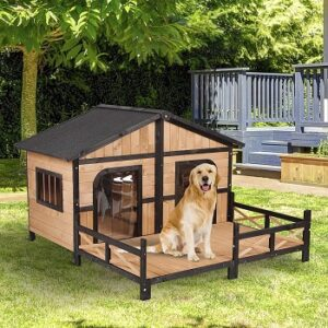PawHut-Wooden-Large-Dog-House-outdoor-installation