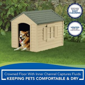Suncast-Outdoor-Dog-House-with-Door-removable-roof